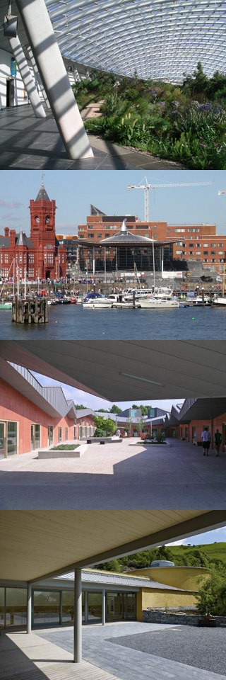 The Great Glasshouse, The Senedd, The Ruthin Craft Centre and The WISE building